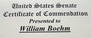 Bill Boehm US Senate commemoration