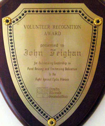 John Feighan and Cystic Fibrosis award plaque
