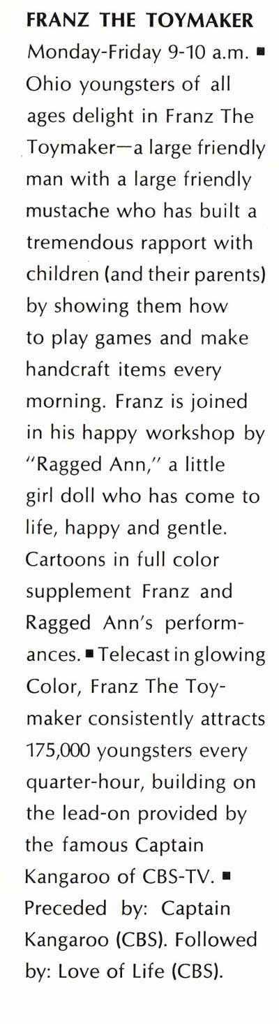 Franz the Toymaker in newpspaper