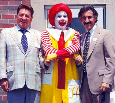 Larry Morrow and Rocco Scotti with Ronald McDonald