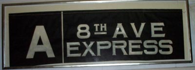 The original train sign from Take the A Train